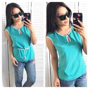 Блуза голубая в горошек Т1433