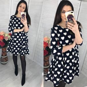 Платье короткое с рукавом 3/4 с принтом Х6722