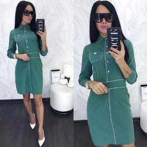 Платье короткое с рукавом 3/4 классическое Х9973