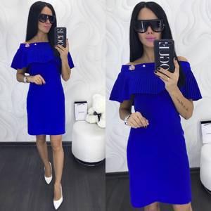 Платье короткое нарядное синее Х9982