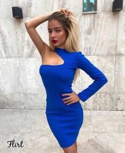 Платье короткое облегающее синее Х9988