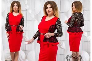 Платье короткое с длинным рукавом красное Х6761