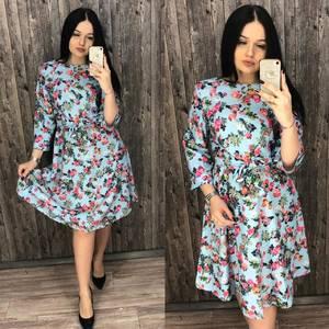 Платье короткое нарядное с принтом Х7196