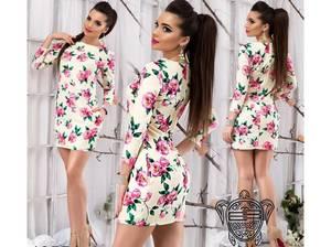 Платье короткое с рукавом 3/4 облегающее Х8326