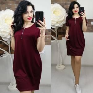 Платье короткое однотонное Х6837
