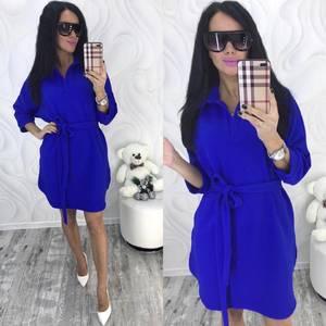 Платье короткое с рукавом 3/4 однотонное Х7164