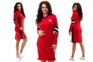 Платье короткое с длинным рукавом красное Х6764