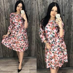 Платье короткое нарядное с принтом Х7197