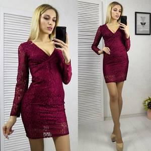 Платье короткое с длинным рукавом облегающее Х8321