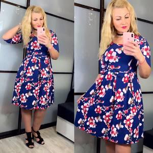 Платье короткое нарядное синее Х9250