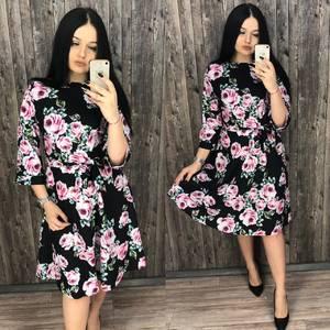 Платье короткое нарядное с принтом Х7198
