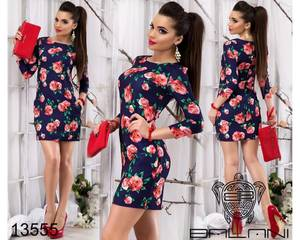 Платье короткое с рукавом 3/4 облегающее Х8328