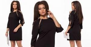 Платье короткое нарядное черное Х9259