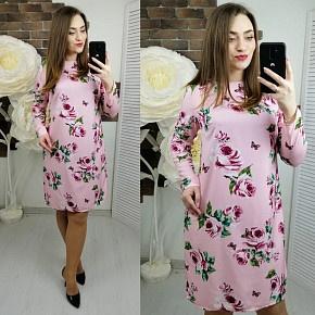Платье короткое нарядное с принтом Х9257
