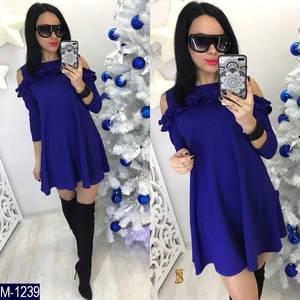 Платья короткое нарядное синее Х8916