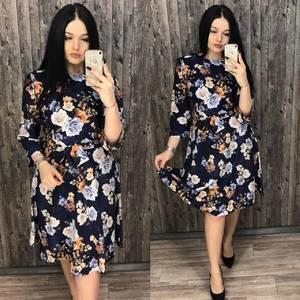 Платье короткое нарядное с принтом Х7199