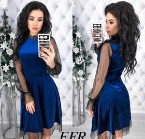 Платье короткое нарядное с длинным рукавом Х8388