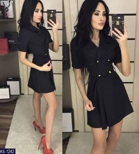 Платье короткое однотонное элегантное Х6730