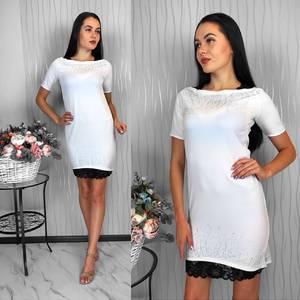 Платье короткое белое летнее Х8936