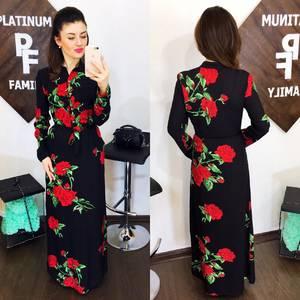 Платье длинное с принтом Х8091