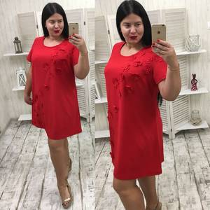 Платье-туника короткое нарядное красное Х8940