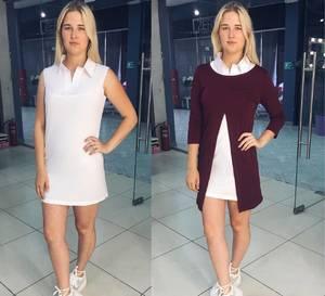 Платье Двойка короткое повседневное современное Т8059