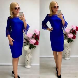 Платье короткое нарядное синее Т8040