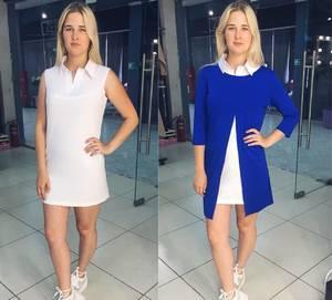 Платье Двойка короткое повседневное синее Т8057