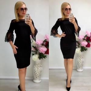 Платье короткое нарядное черное Т8043