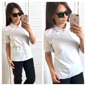 Блуза белая с коротким рукавом Т4328