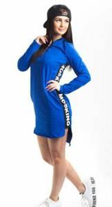 Платье короткое повседневное синее Т8271