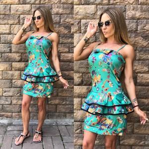 Платье короткое с принтом облегающее Т8113