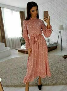 Платье длинное в горошек А25174