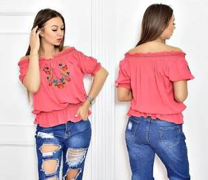 Блуза розовая с цветочным принтом Т5520