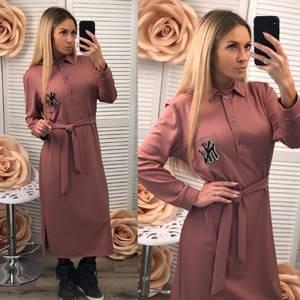 Платье длинное с длинными рукавами однотонное Ф2532