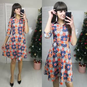 Платье короткое с рукавом 3/4 с принтом Ф5792