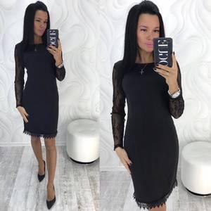 Платье короткое с длинным рукавом облегающее Х9807