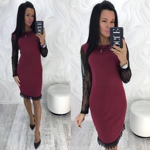 Платье короткое с длинным рукавом современное Х9808