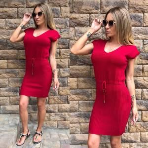 Платье короткое повседневное красное Т8145
