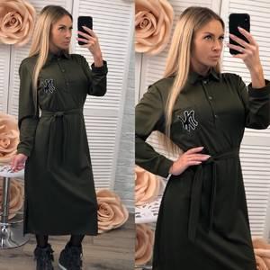 Платье длинное с длинными рукавами однотонное Ф2533