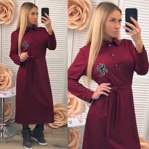 Платье длинное с длинными рукавами однотонное Ф2534