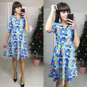 Платье короткое с рукавом 3/4 с принтом Ф5793