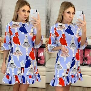 Платье короткое с принтом летнее Х9426