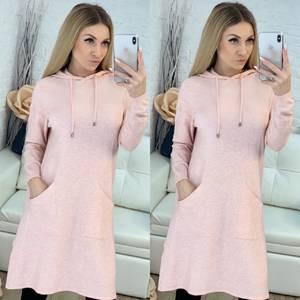 Платье короткое трикотажное с длинным рукавом Ф9486
