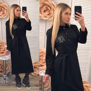 Платье длинное с длинными рукавами однотонное Ф2535
