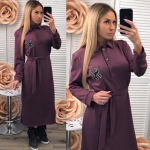 Платье длинное с длинными рукавами однотонное Ф2536