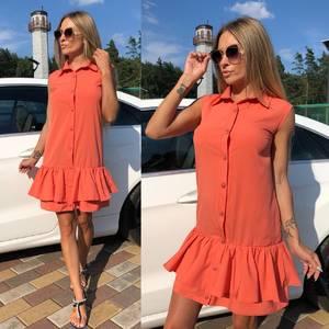 Платье короткое однотонное летнее Т8128