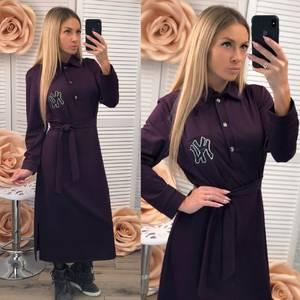 Платье длинное с длинными рукавами однотонное Ф2537