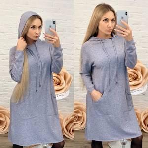 Платье короткое повседневное с длинным рукавом Ф9490