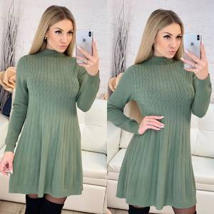 Платье короткое трикотажное с длинным рукавом Ф9491